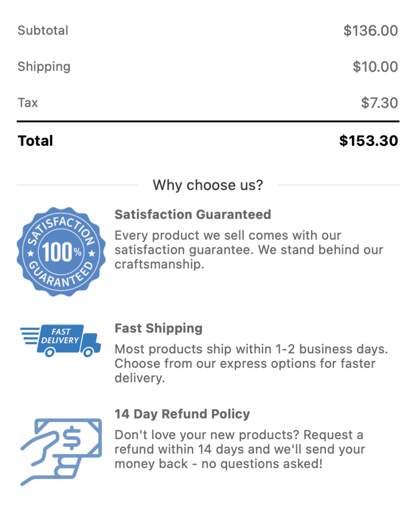 A picture of trust badges on the checkout page.